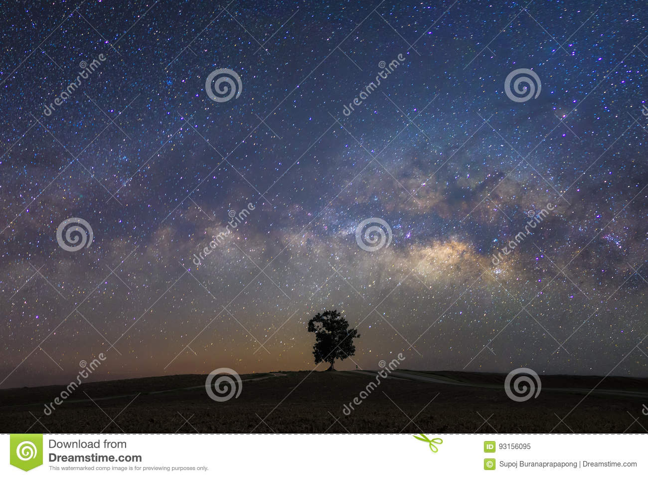 Beautiful milky way with a single treebackground.Landscape with