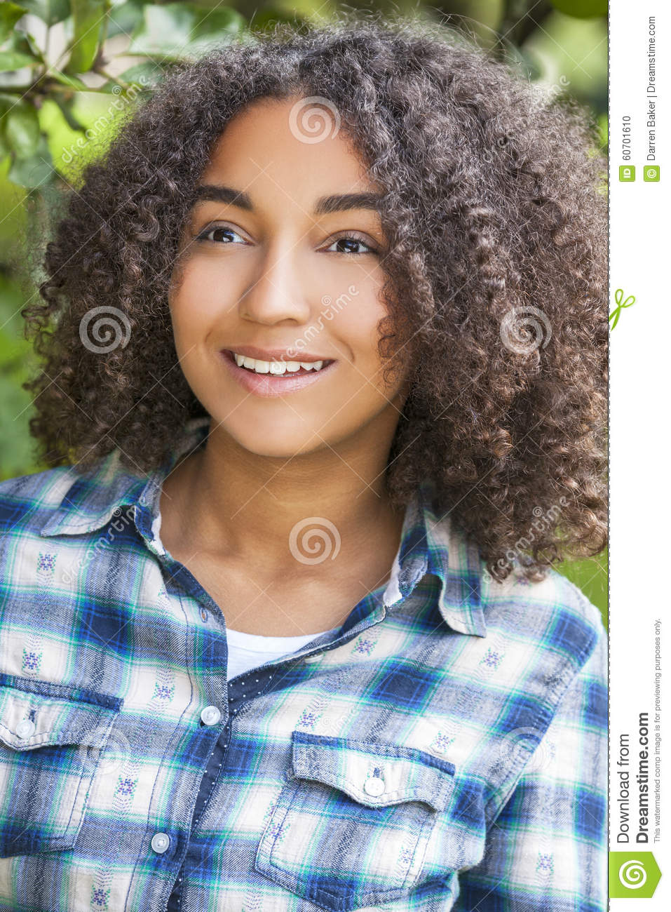 Picture Perfect American Cottage How To Decorate Interiors: Beautiful Mixed Race African American Girl Teenager Stock