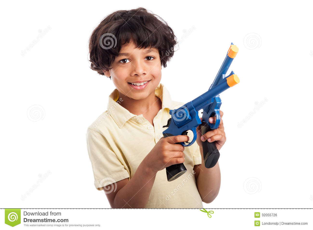 Beautiful Mixed Race Boy Playing With Toy Guns Royalty
