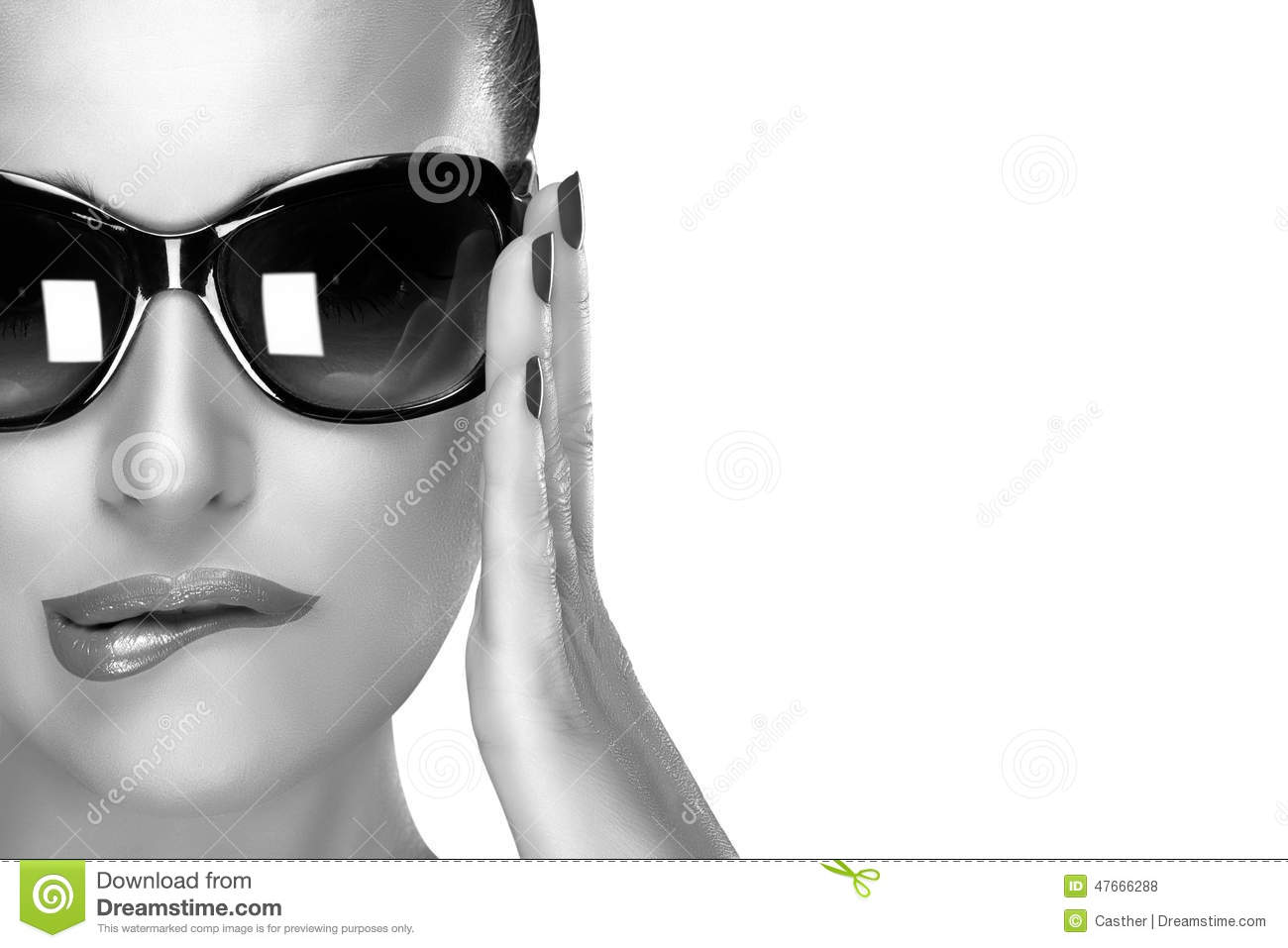 Beautiful Model In Black Fashion Sunglasses Beauty And Makeup C Stock Photo Image 47666288