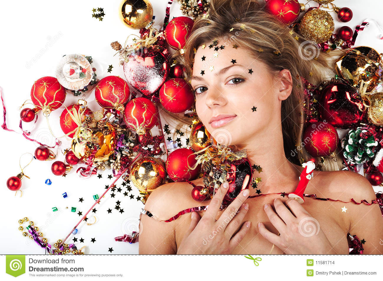 Christmas Model.Beautiful Model With Christmas Decorations Stock Photo