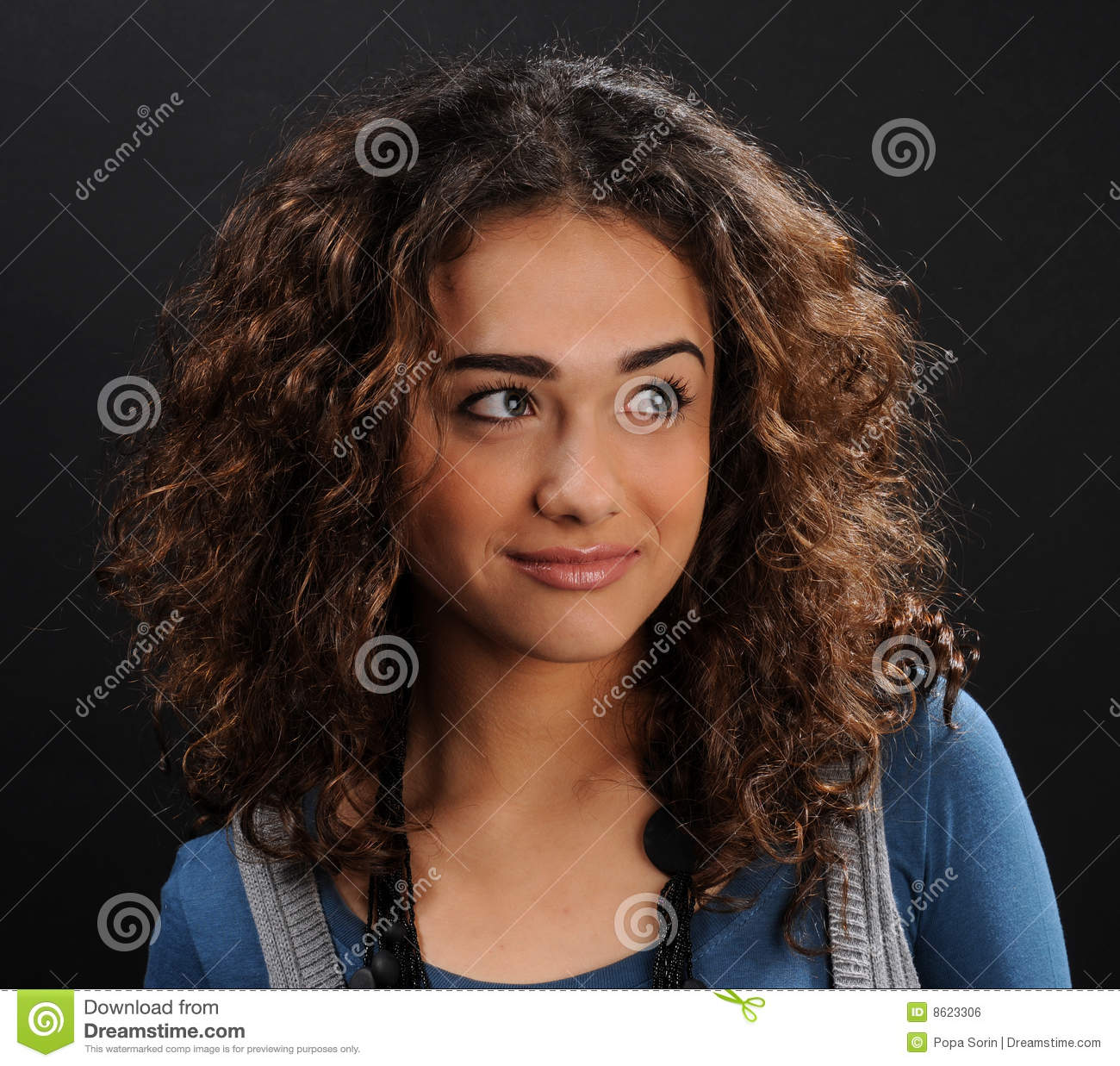 Beautiful Model With Curly Hair Royalty Free Stock Image