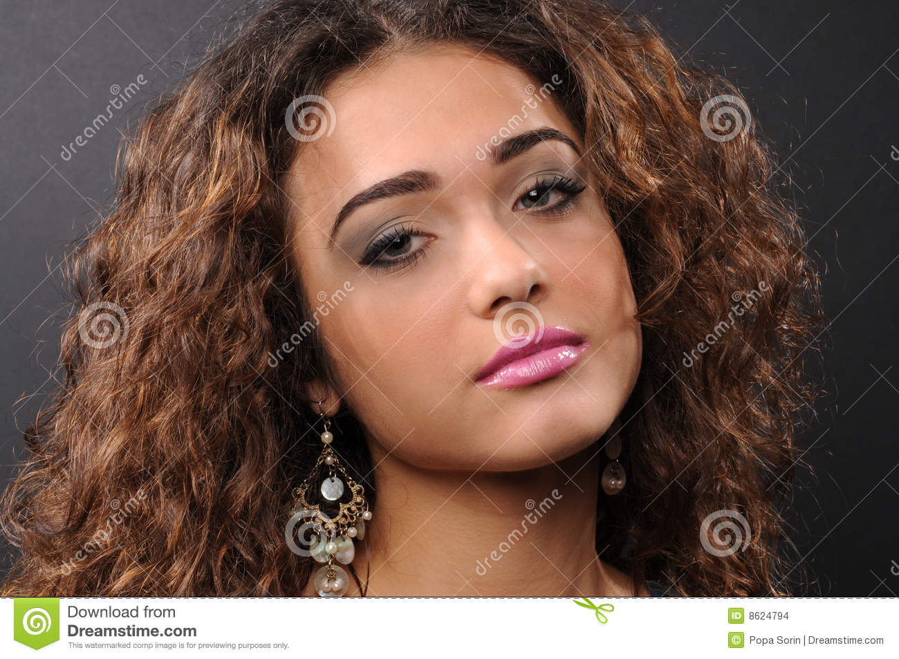 Beautiful model with curly hair stock images image 8624794