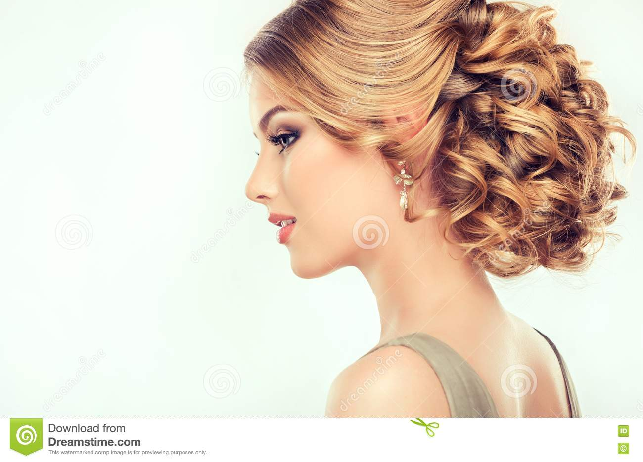 Beautiful Model With Elegant Hairstyle Stock Photo Image Of