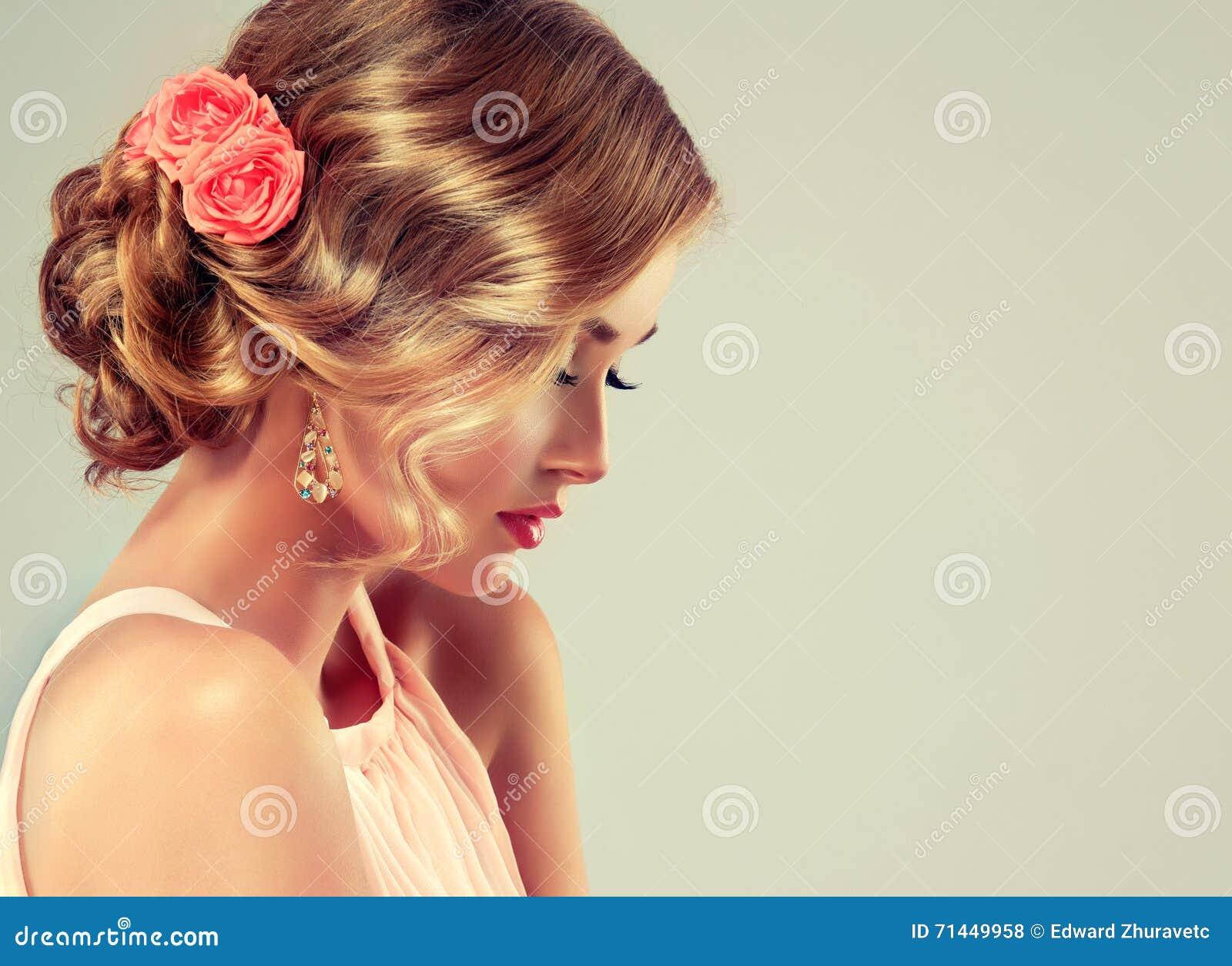 Beautiful Model With Elegant Wedding Hairstyle Stock Photo Image