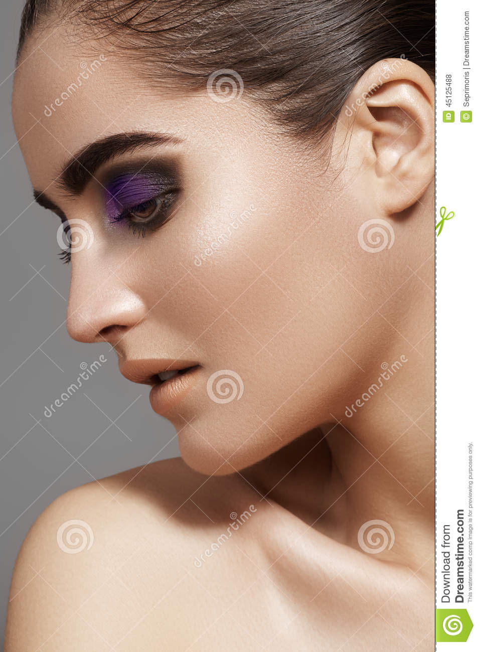 Clean And Shiny >> Beautiful Model Face With Fashion Eyes Make-up, Purity Skin Stock Photo - Image: 45125488