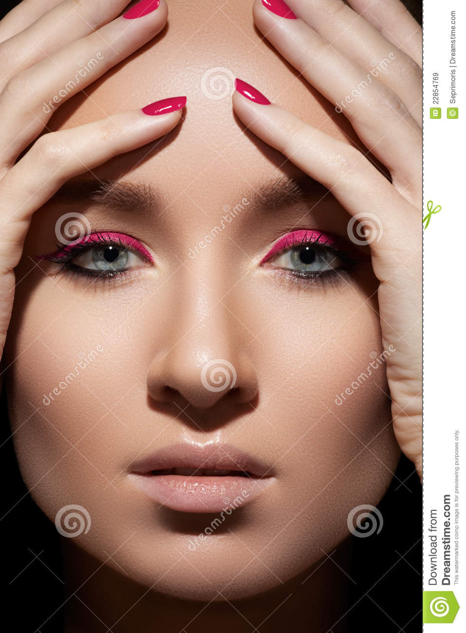 Beautiful Model Face With Fashion Make-up & Nails Stock ...