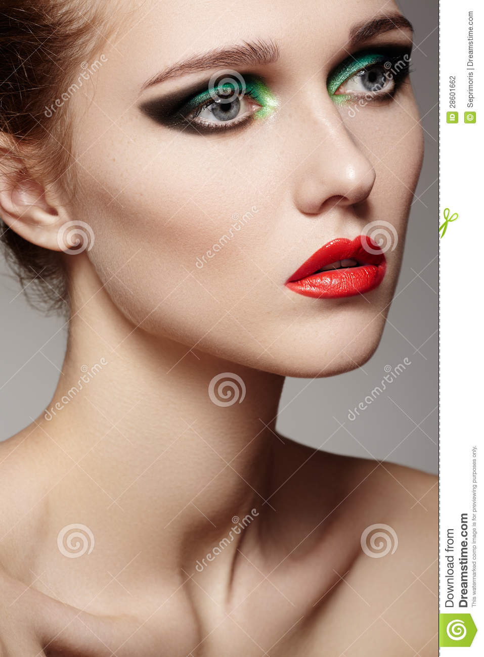 Beautiful Model Face With Fashion Make-up, Red Lips Stock ...