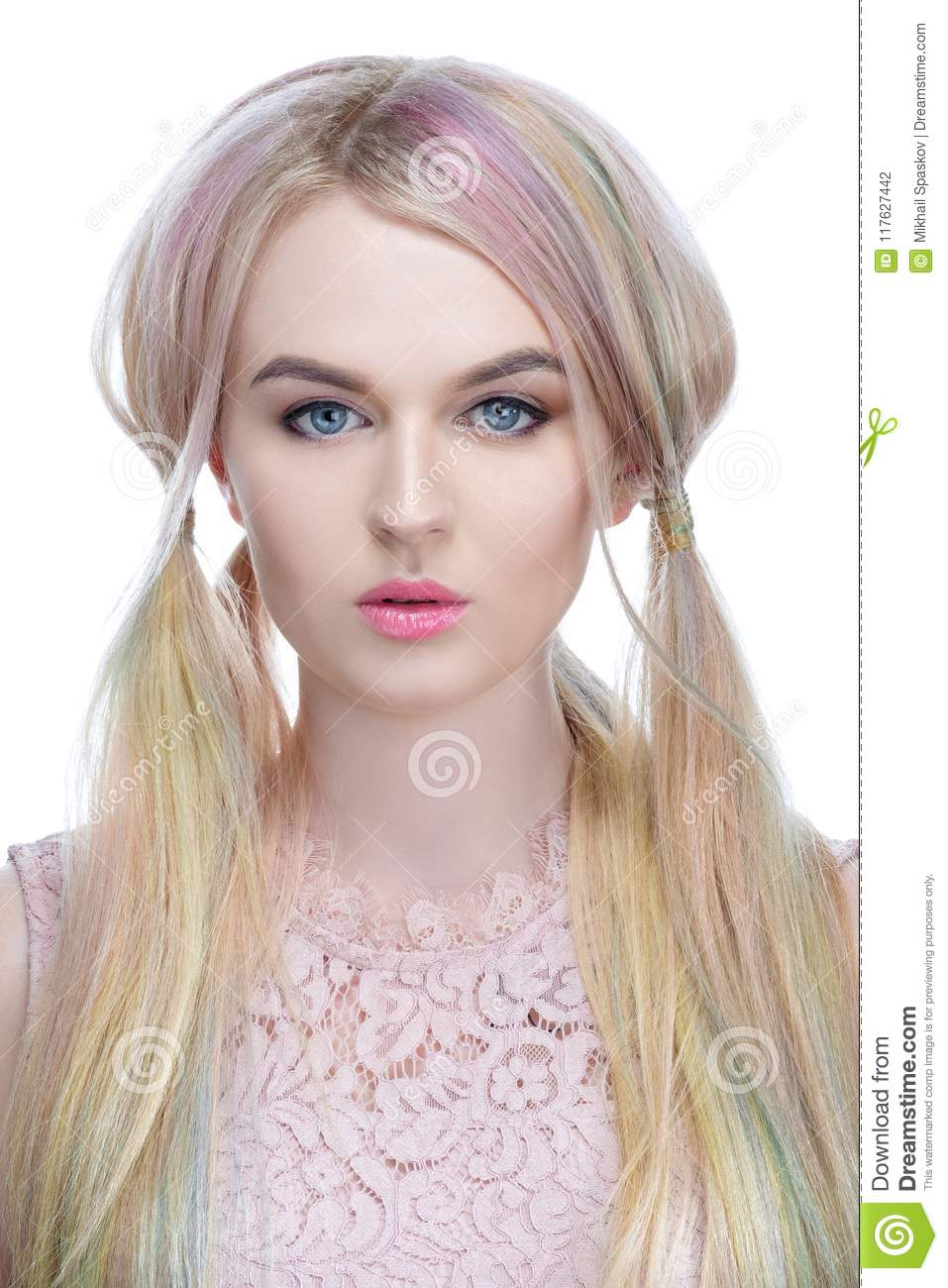Beautiful Model Girl With Blond Hair With Colored Hair Close Up On A