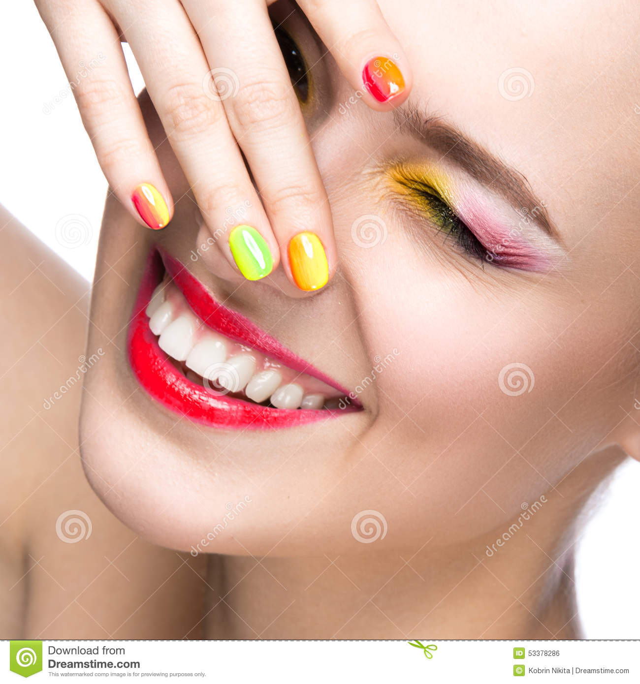beautiful model girl with bright colored makeup and nail polish in the summer image beauty face. Black Bedroom Furniture Sets. Home Design Ideas