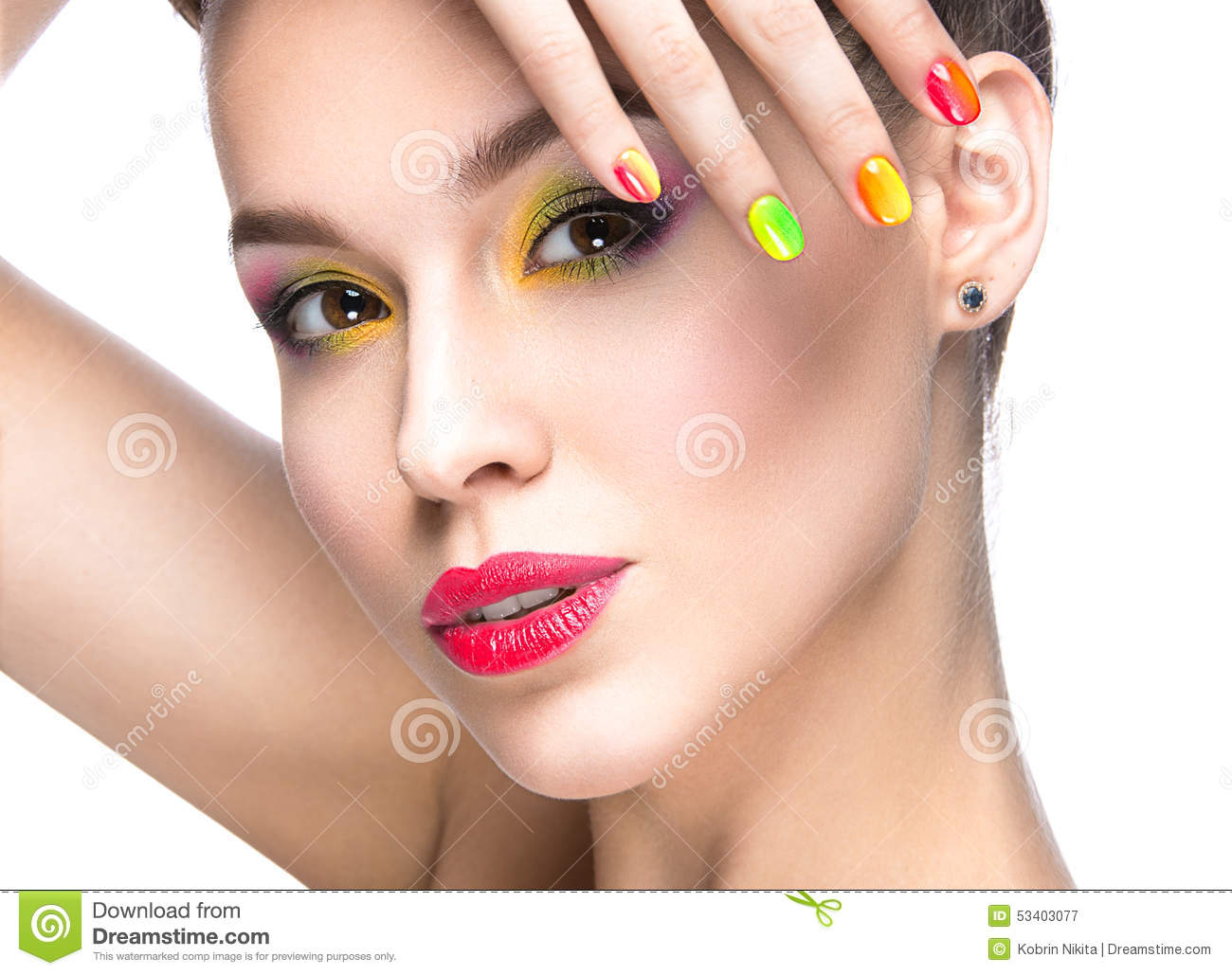 Beautiful Model Girl With Bright Colored Makeup And Nail ...