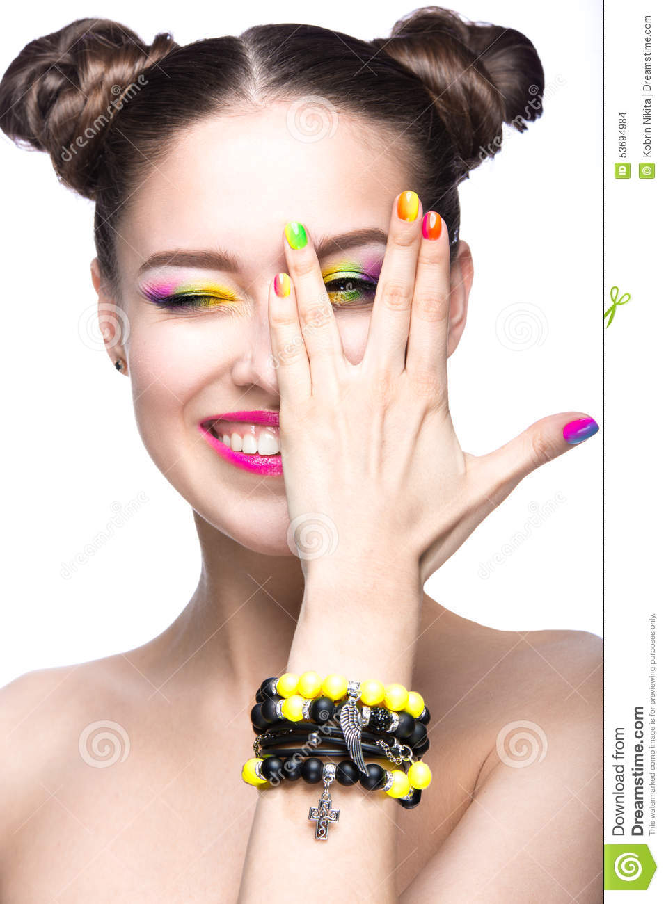 beautiful-model-girl-bright-colored-makeup-nail-polish-summer-image ...