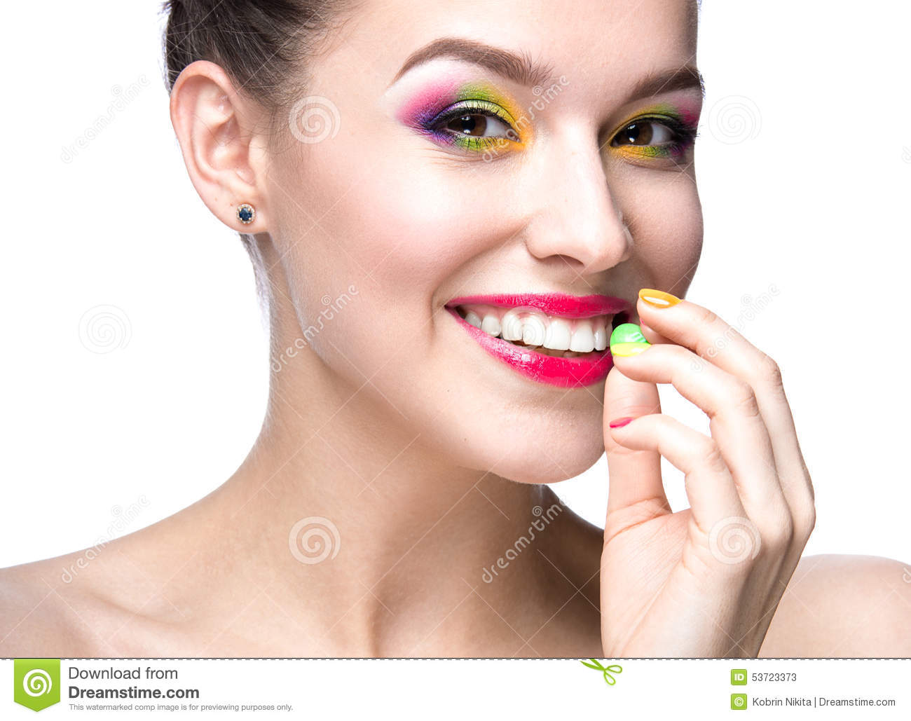 Beautiful Model Girl With Bright Colored Makeup And Nail Polish In The Summer Image. Beauty Face ...