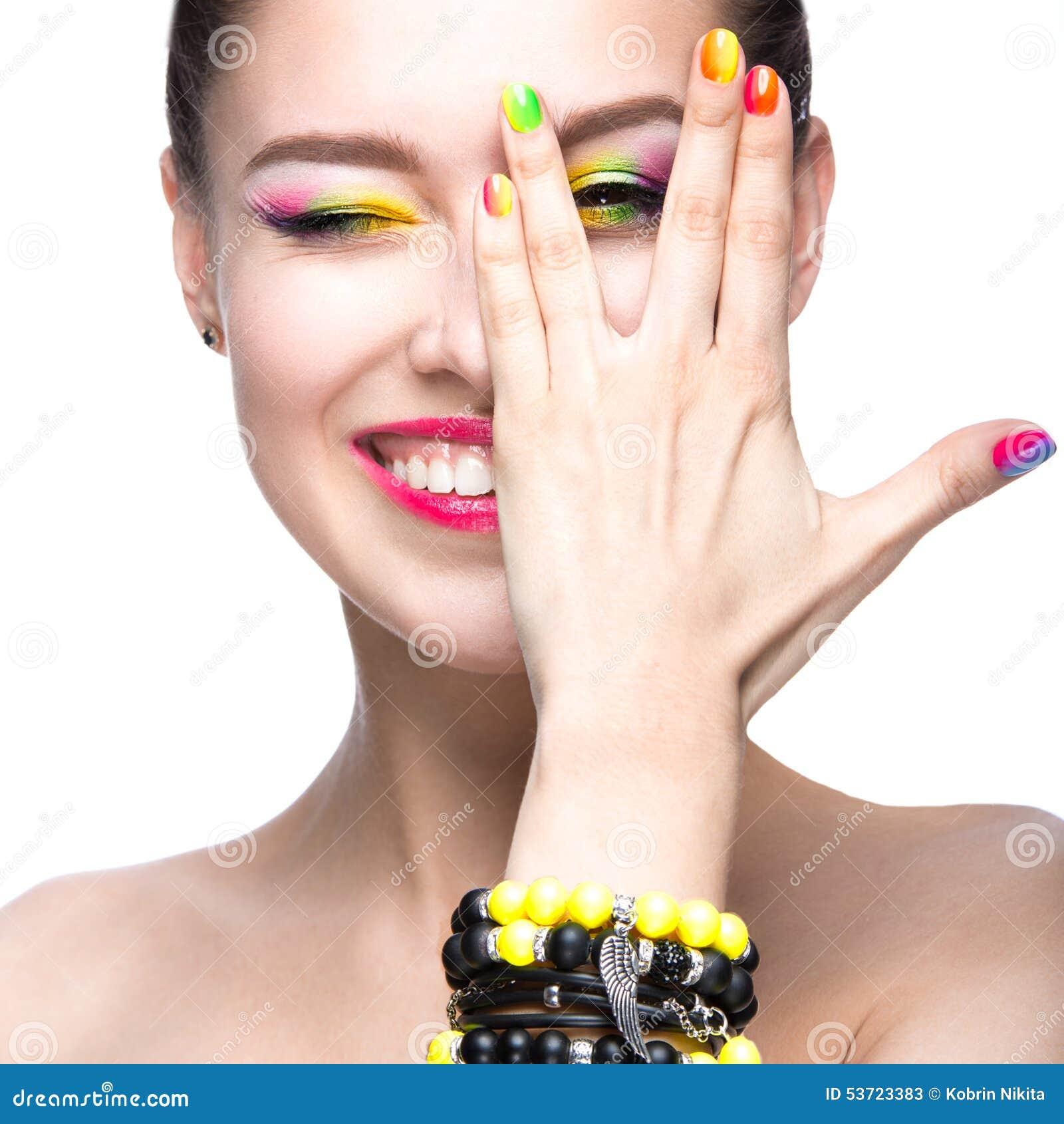 Studio M Nail Polish: Beautiful Model Girl With Bright Colored Makeup And Nail