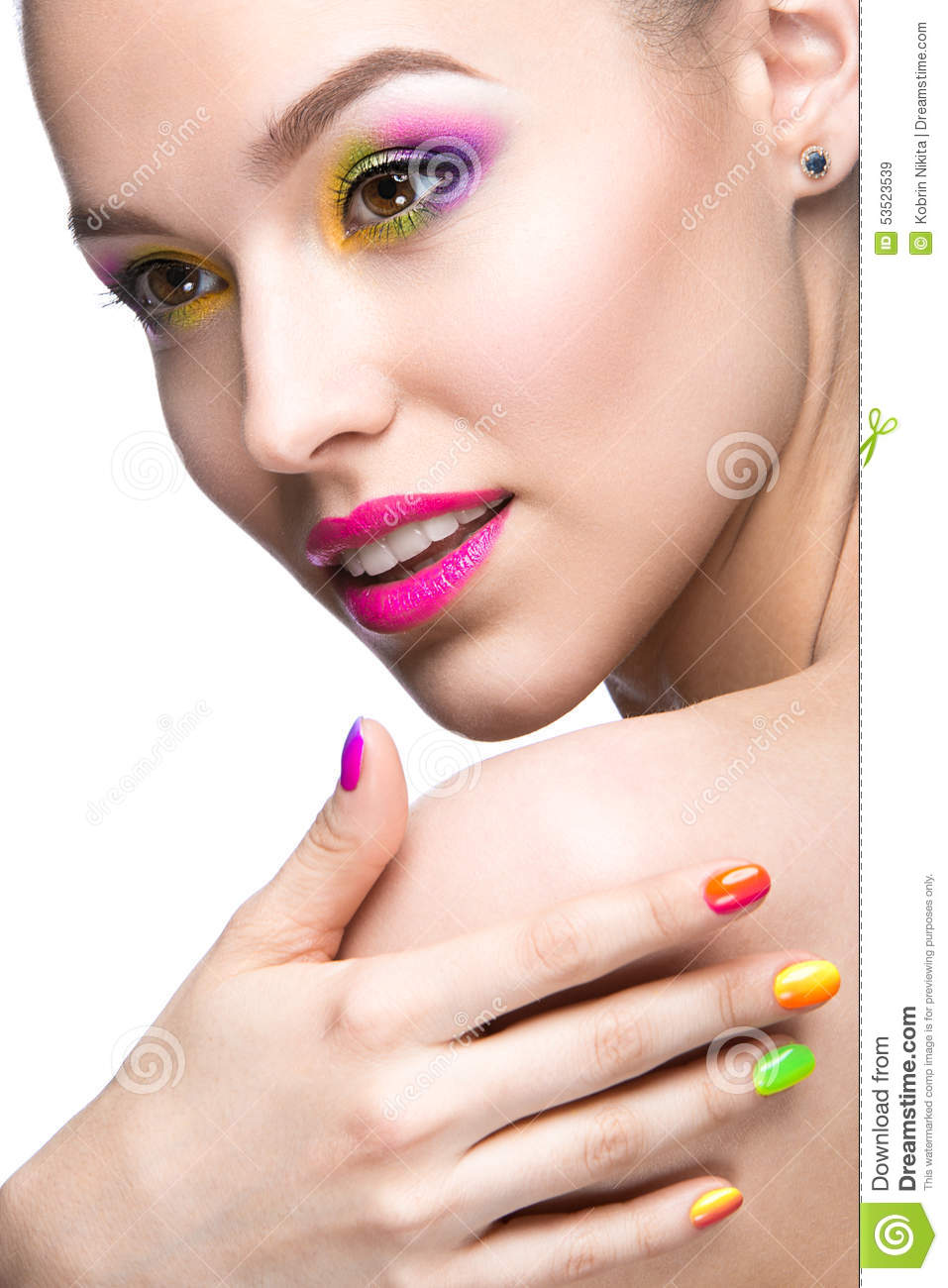 Beautiful Model Girl With Bright Colored Makeup Stock Image - Image ...