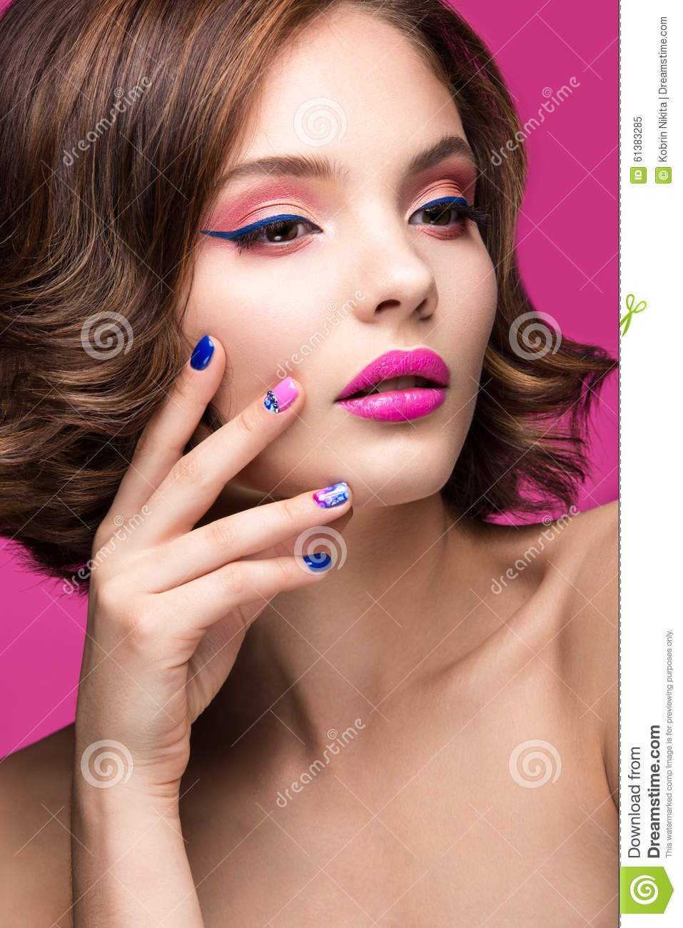 Beautiful Model Girl With Bright Pink Makeup And Stock ...