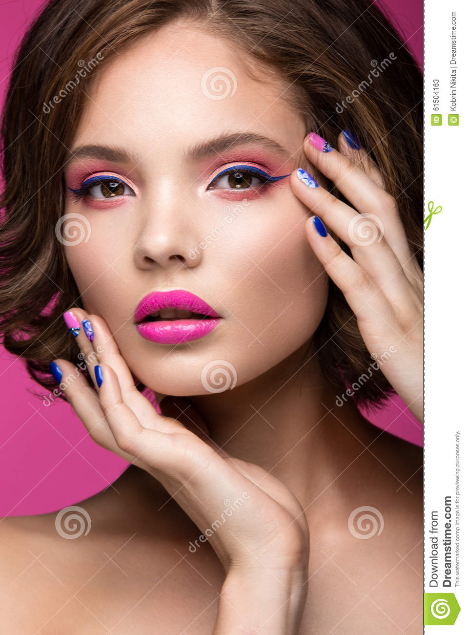 Beautiful Model Girl With Bright Pink Makeup And Royalty ...