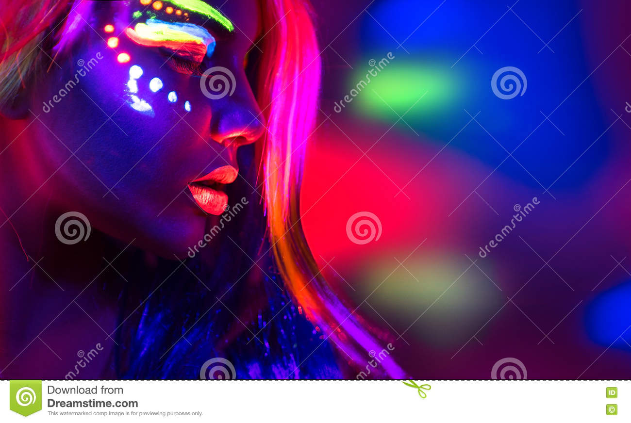Beautiful Model Girl With Fluorescent Make Up Royalty Free