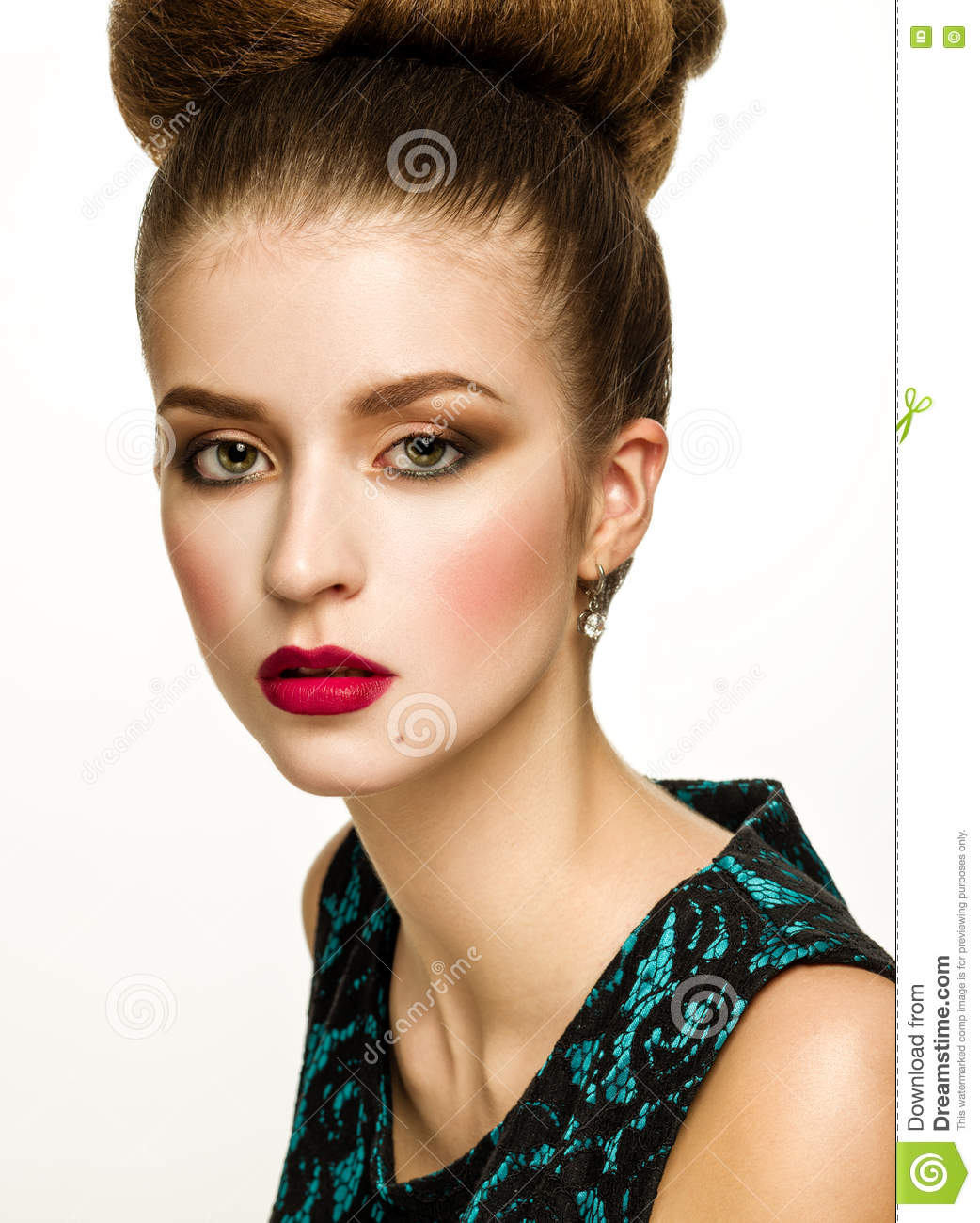 Beautiful Model Girl With Updo Hairstyle And Stylish Makeup Stock