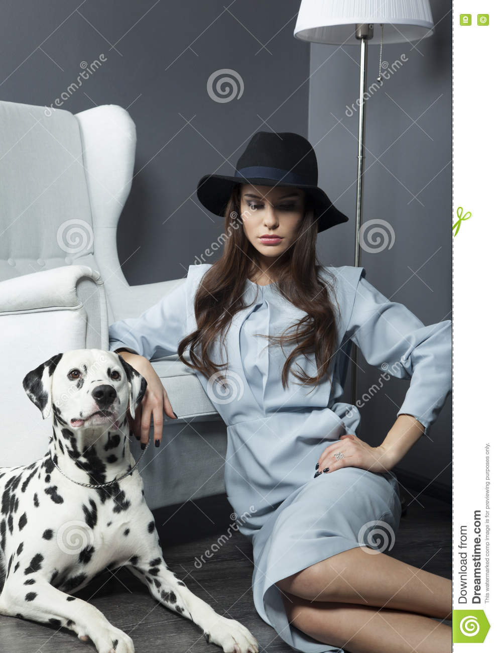 Beautiful Model In A Hat With Beautiful Makeup And A Dalmatian Dog Stock Photo Image Of Black Fashion 70320110