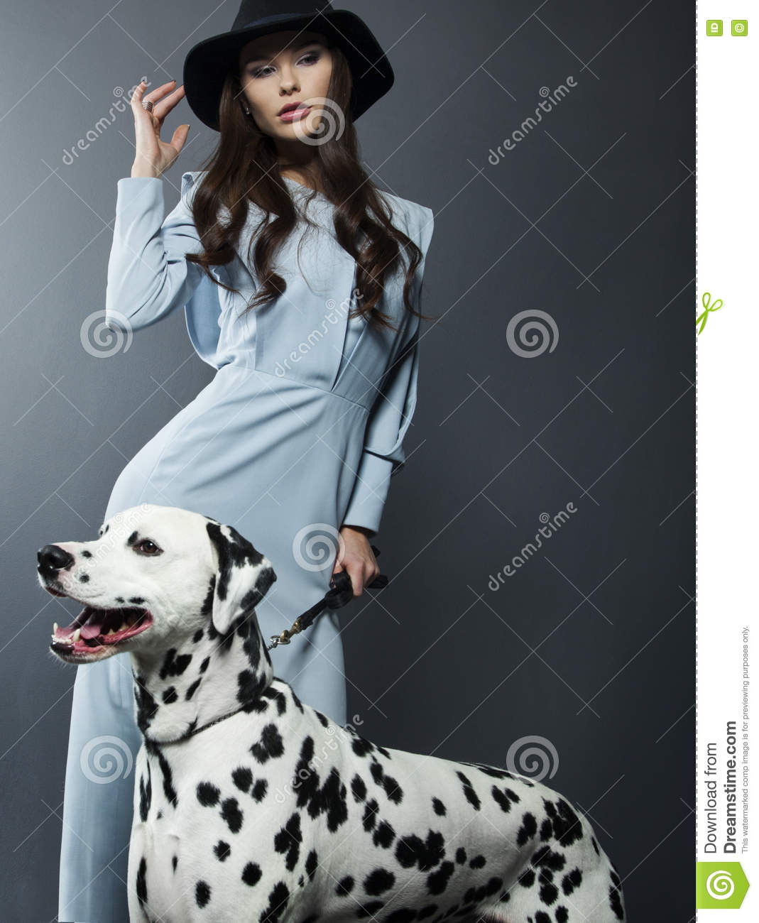 Beautiful Model In A Hat With Beautiful Makeup And A Dalmatian Dog Stock Photo Image Of Care Elegant 70319538