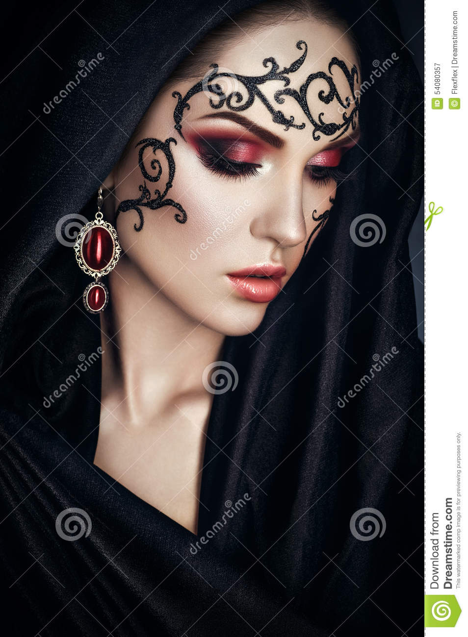 Beautiful Model With Lace Face-art Stock Photo - Image: 54080357