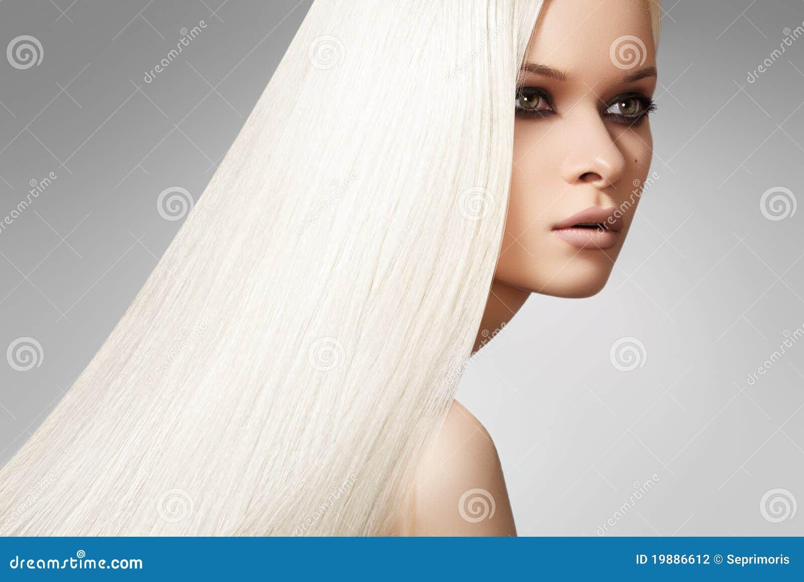 Beautiful model, long blond straight hair style
