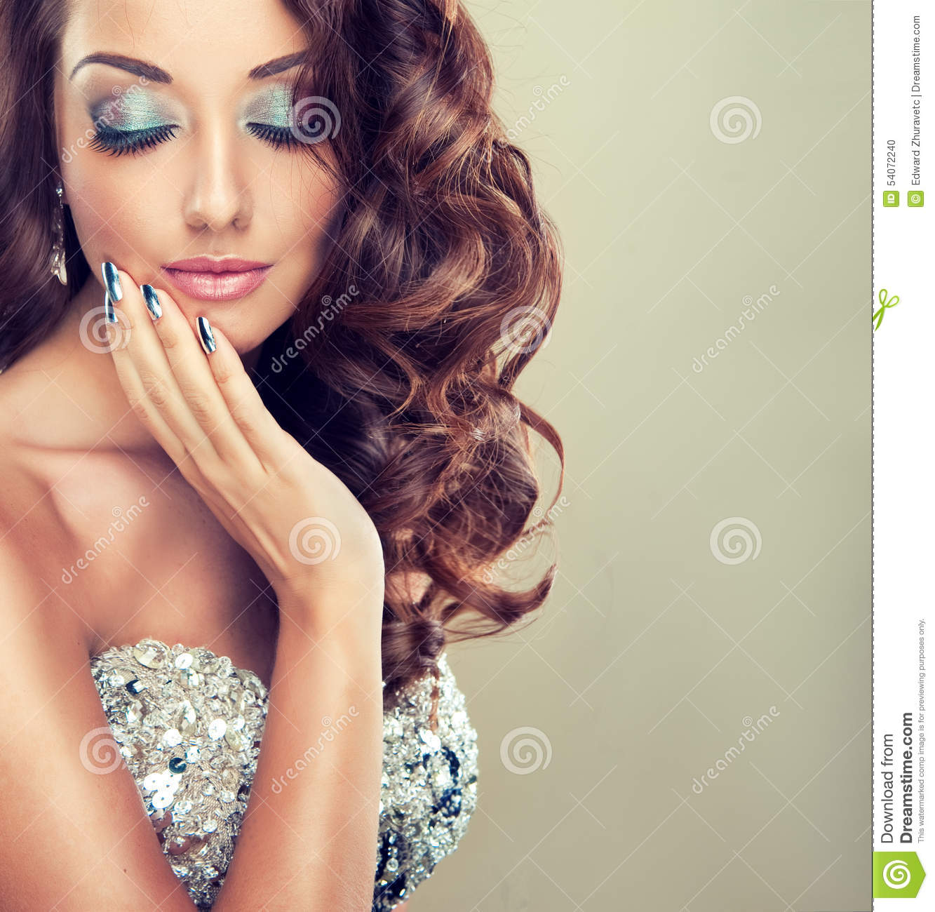 Beautiful Model With Long Curly Hair Stock Photo - Image of elegance ...