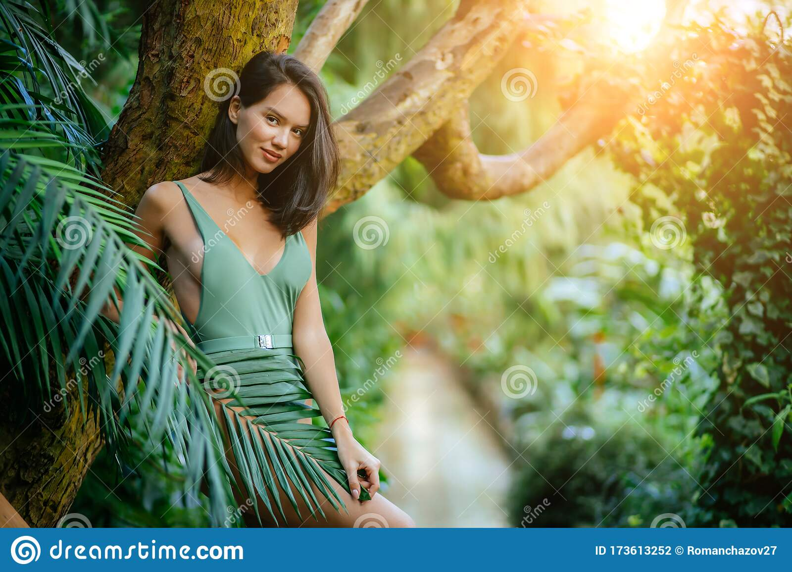 Beautiful Model With Natural Beauty In Rainforest Stock Photo Image Of Caucasian Cosmetics 173613252
