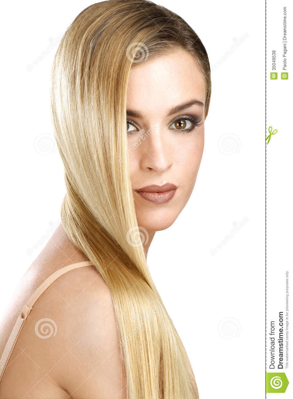 Beautiful Model Showing Her Perfect Blonde Straight Hair ...