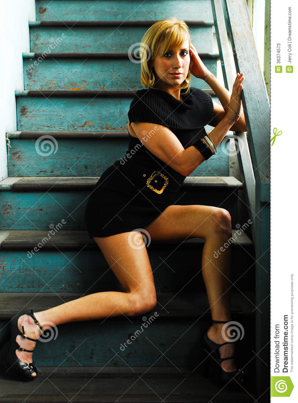 Beautiful Model Sitting On Stairs Stock Image Image Of