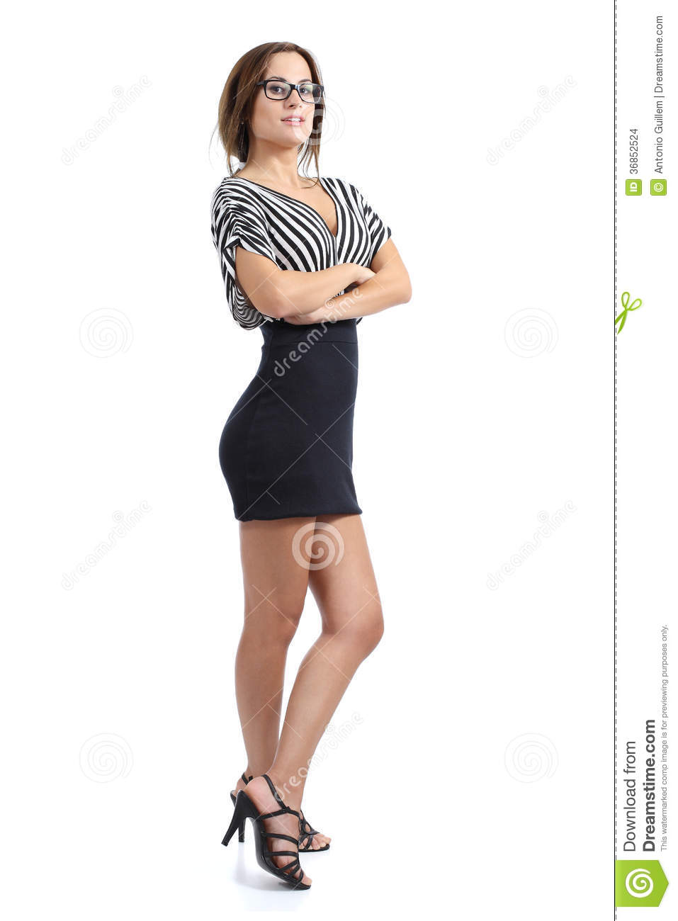 beautiful model woman posing standing with folded arms