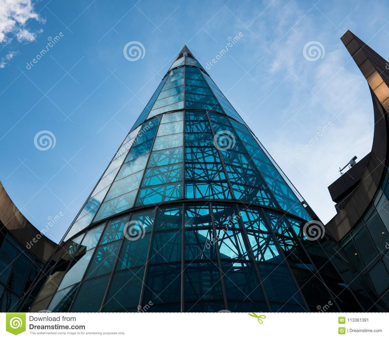 Beautiful modern architecture on this curved glass building