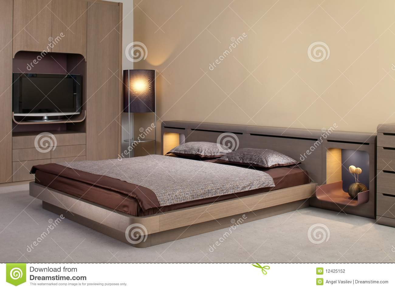 Beautiful and modern bedroom interior design stock for Beautiful bedroom interior