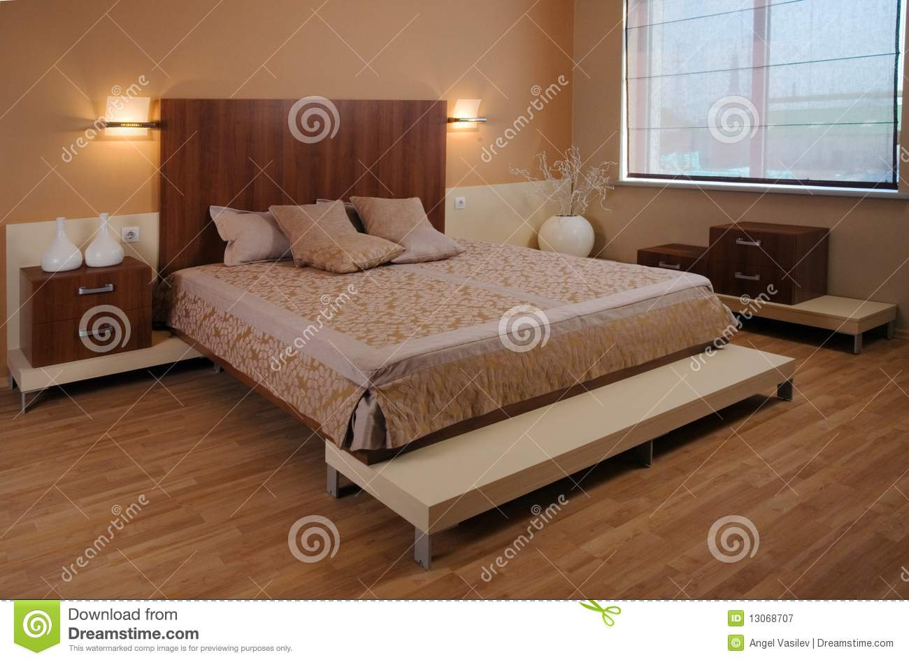 Beautiful and modern bedroom interior design stock photo for Beautiful contemporary bedrooms