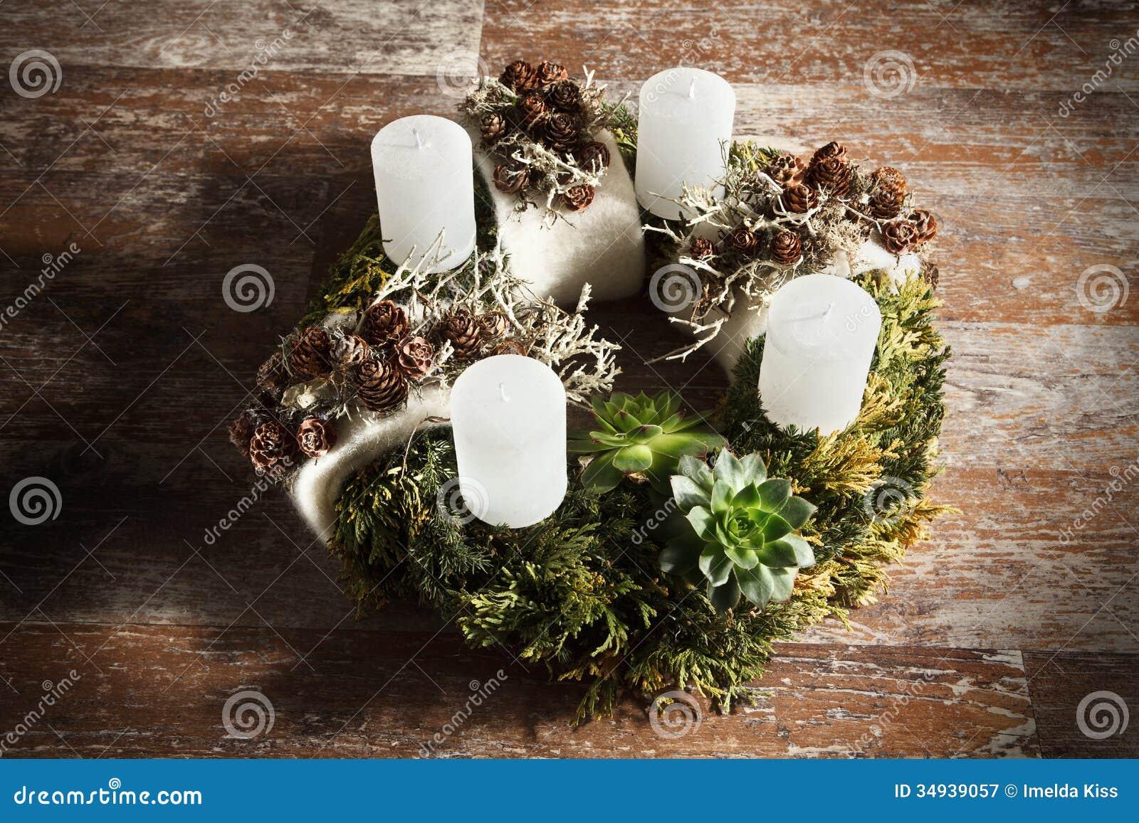 Beautiful Modern Homemade Advent Wreath Stock Image