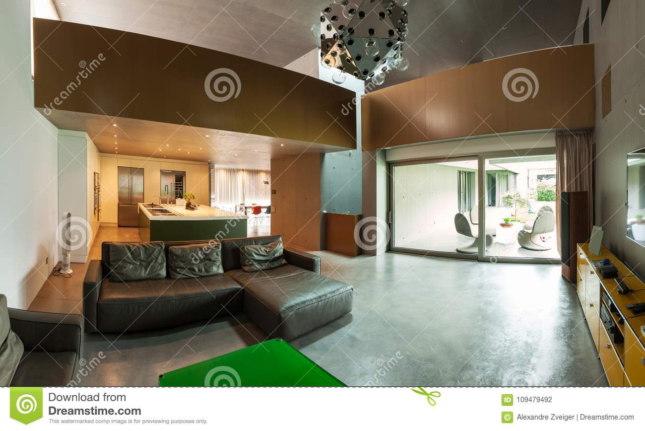 Beautiful modern house in cement interiors
