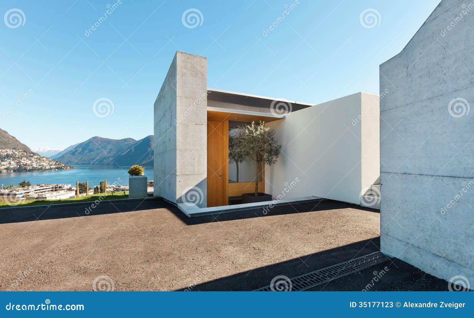 Cement entry house modern
