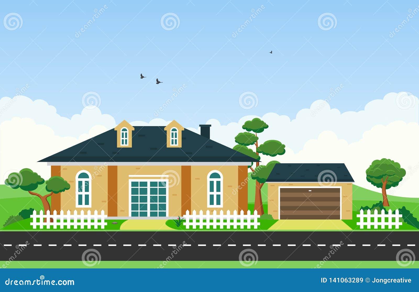 Beautiful Modern House Exterior Facade Yard Residential Illustration