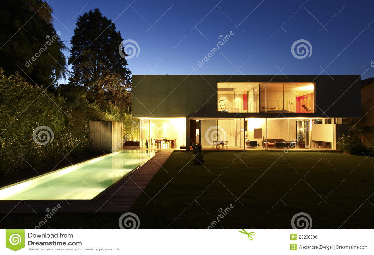Beautiful modern house outdoors at night stock photo for Modern house at night