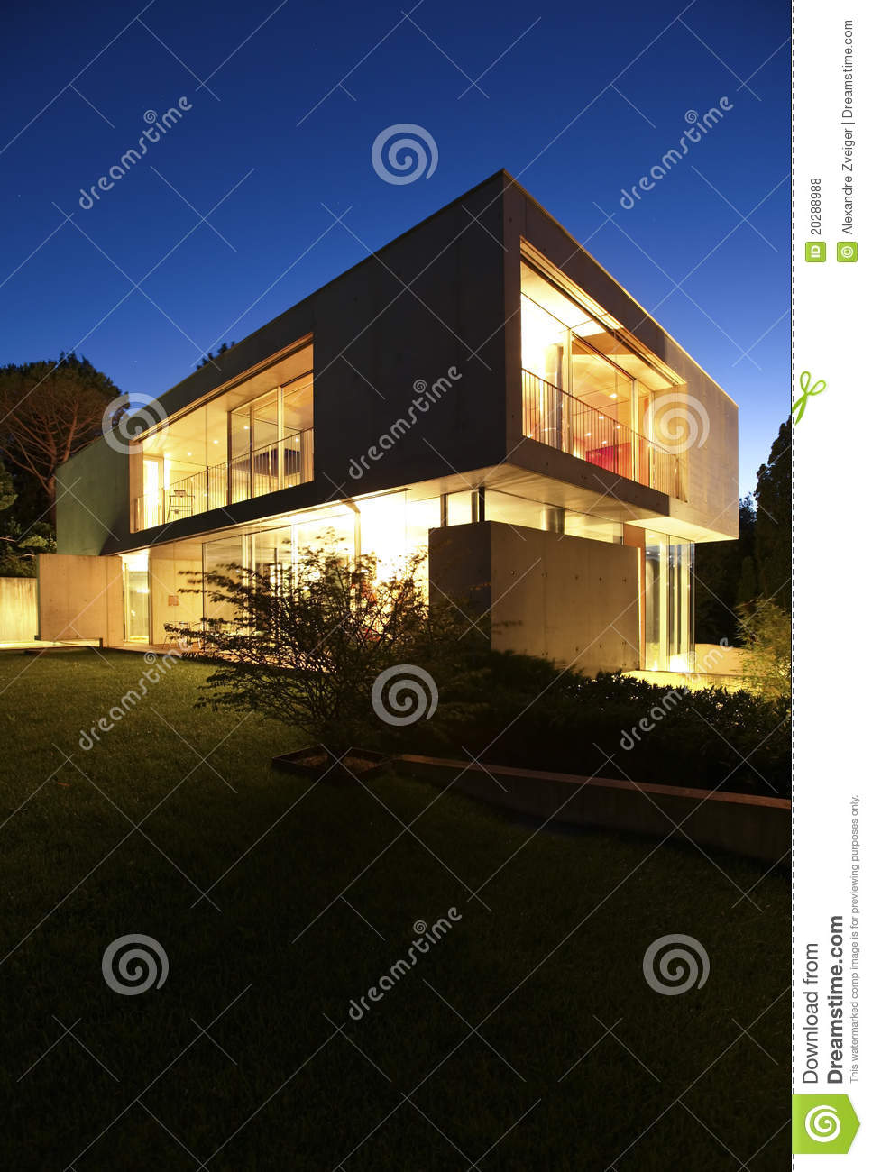Beautiful modern house outdoors at night royalty free for Modern house at night