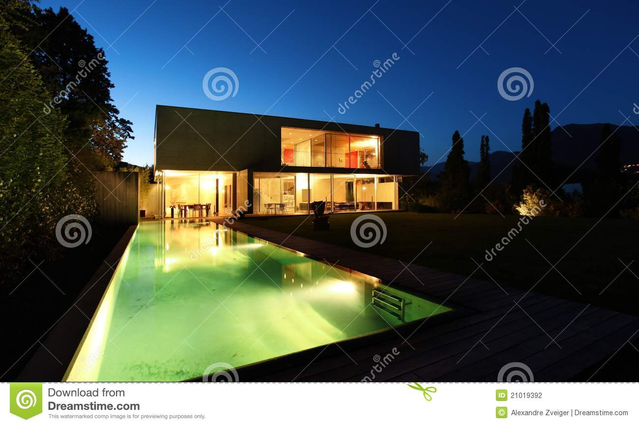 Beautiful modern house outdoors at night stock photography for Modern house at night