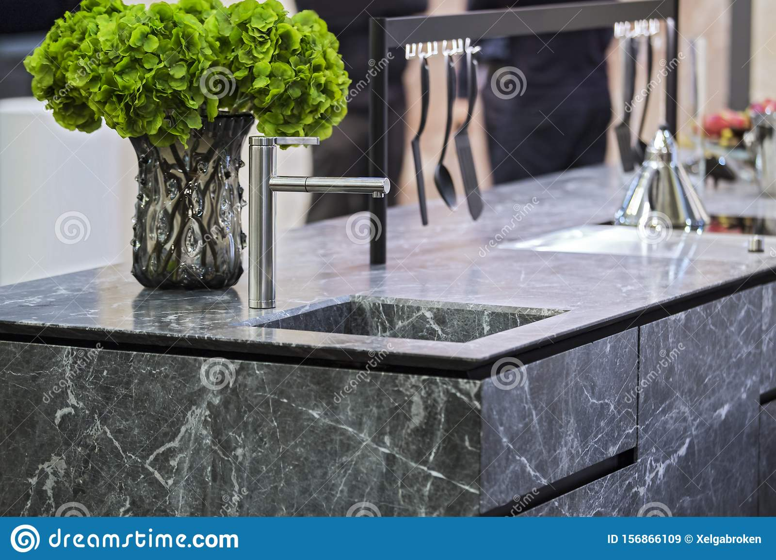 Beautiful Modern Kitchen Design Kitchen Faucet And Kitchen Decor Gray Marble Kitchen Island Stock Image Image Of Contemporary House 156866109