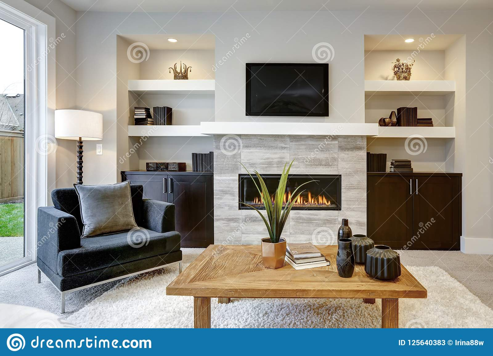Beautiful Modern Living Room Interior With Stone Wall And ...