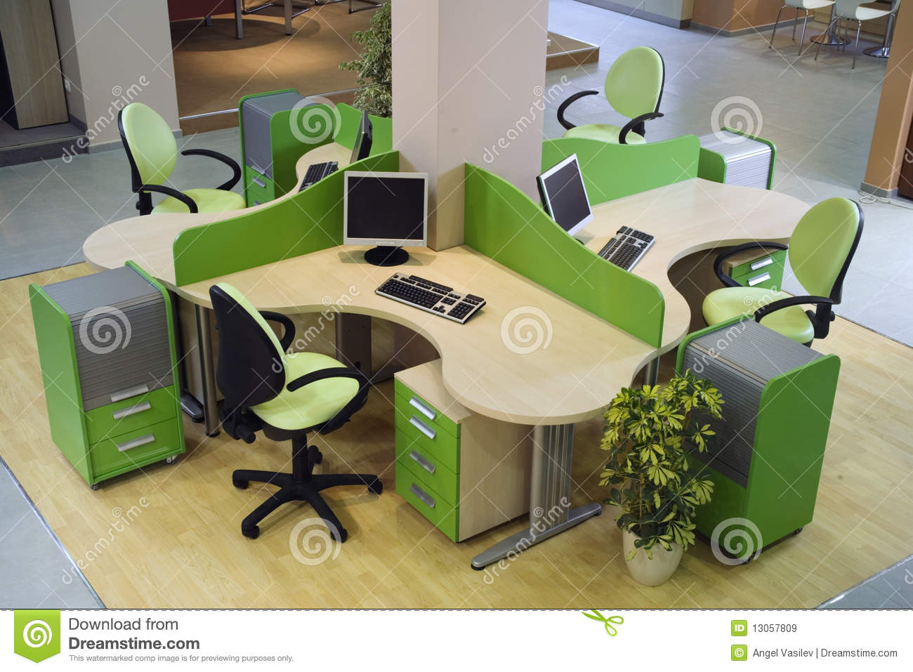 Beautiful and modern office interior design stock image for Beautiful modern office design