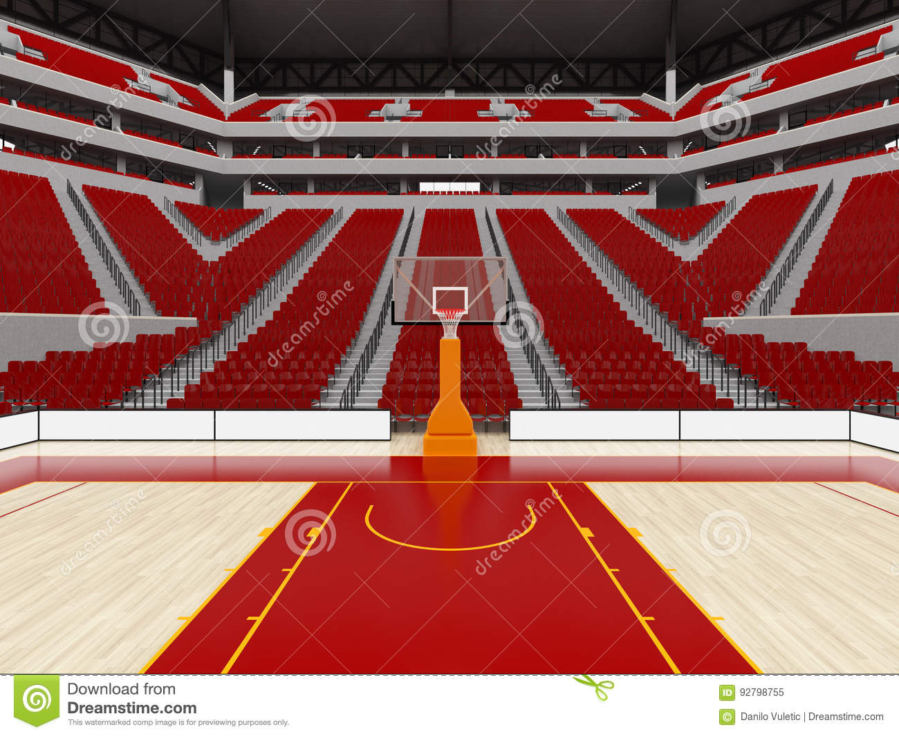 Beautiful Modern Sport Arena For Basketball With Red Seats Stock