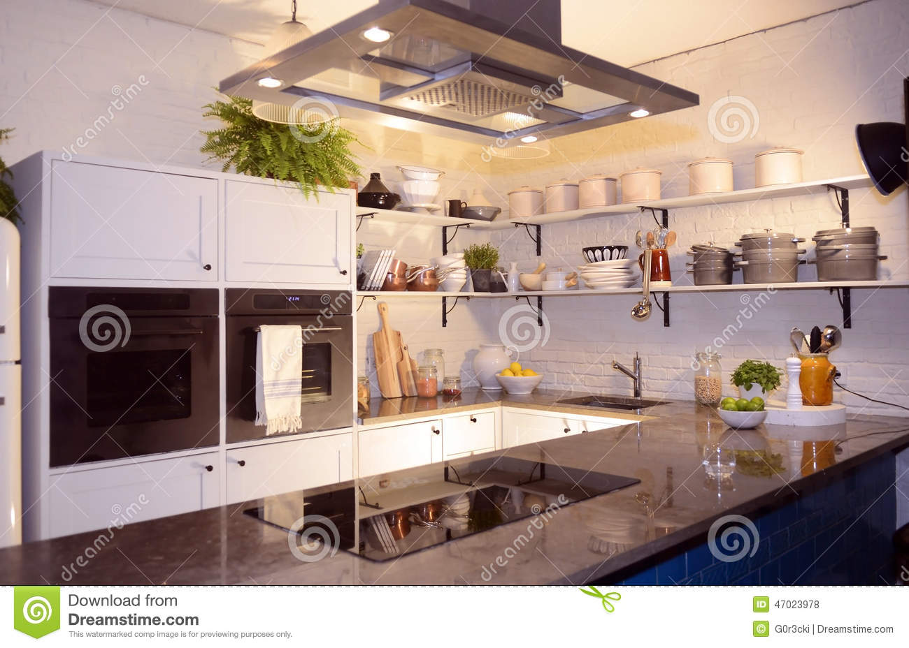 ^ Beautiful Modern White Kitchen With Stone ounters ditorial Stock ...