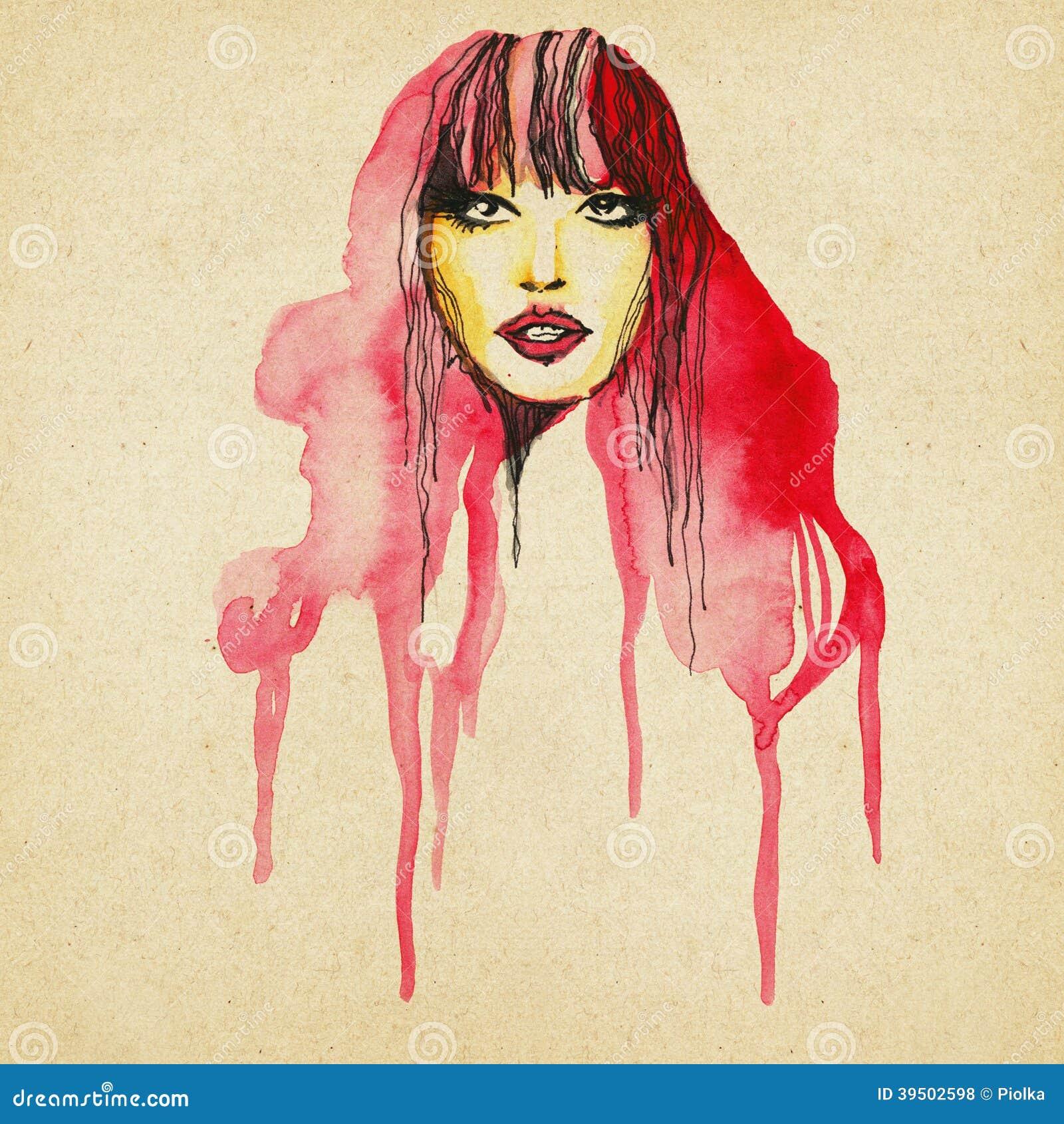 Beautiful modern woman drawing