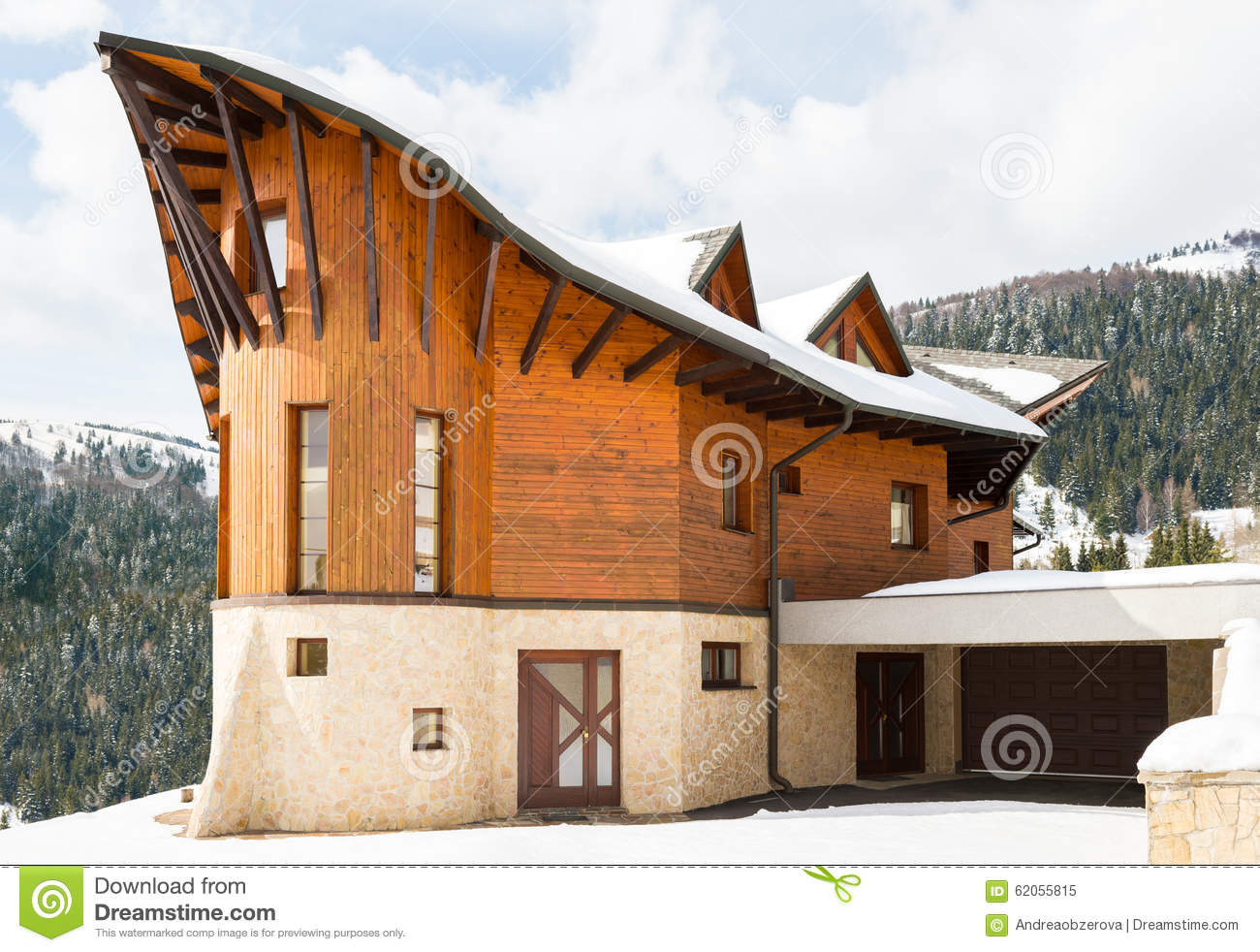 Beautiful Modern Wooden House Covered In Snow Ski Resort