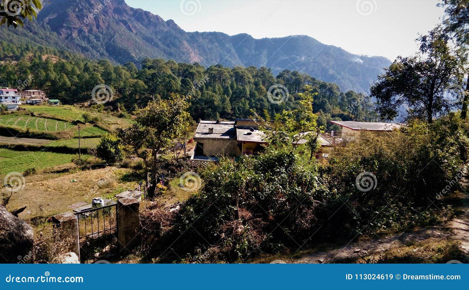 Beautiful Village Scene And Mountain Stock Image Image Of India